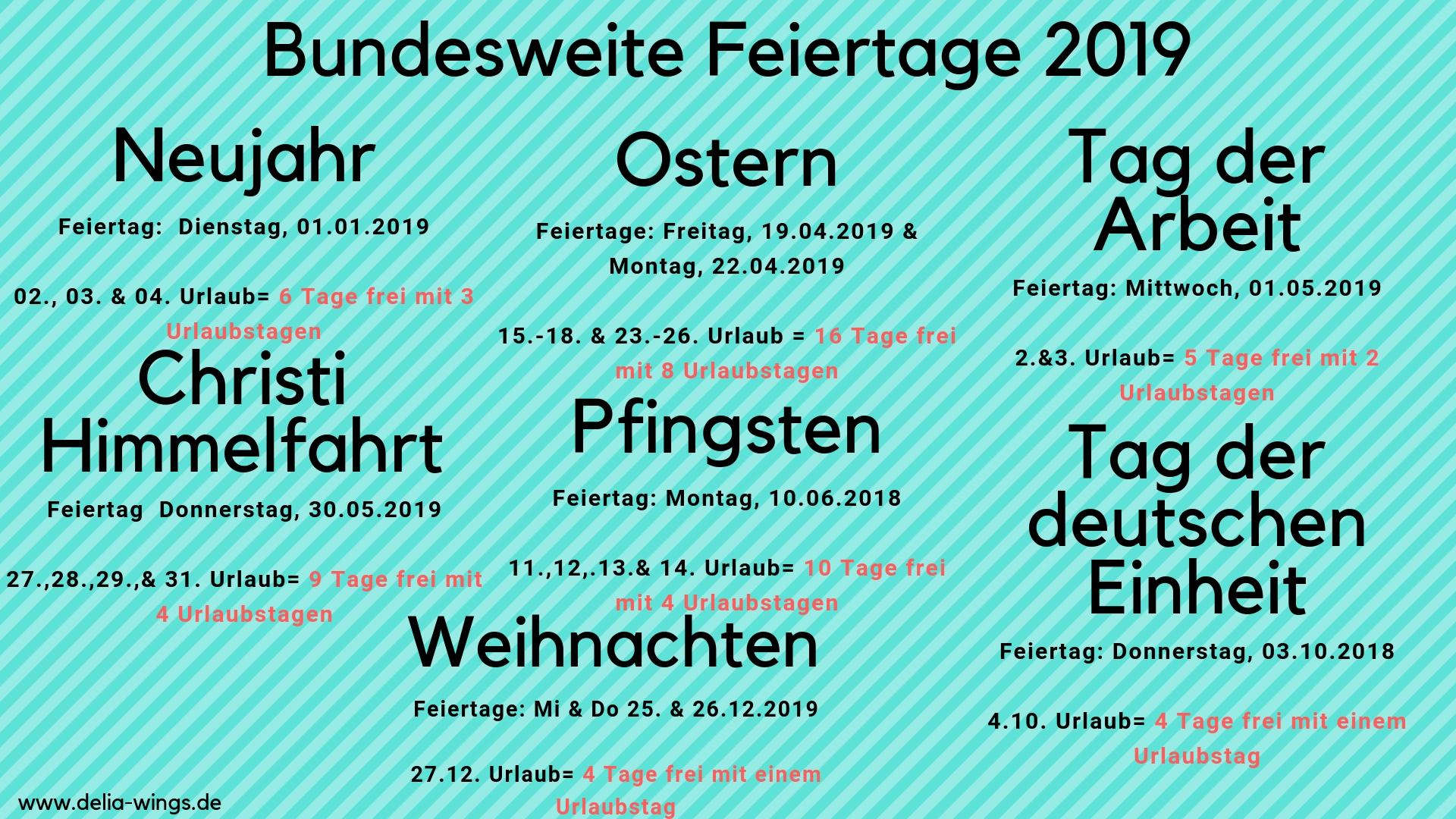 Brückentage 2019 - Nutze die Feiertage, um deine Urlaubstage zu vervielfachen!